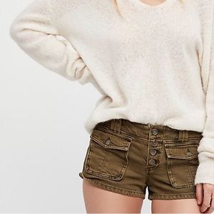 Free People Cora Button Front Shorts Green Sz 25